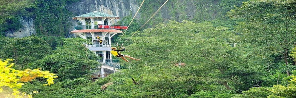 Đu zipline sông Chày - hang Tối