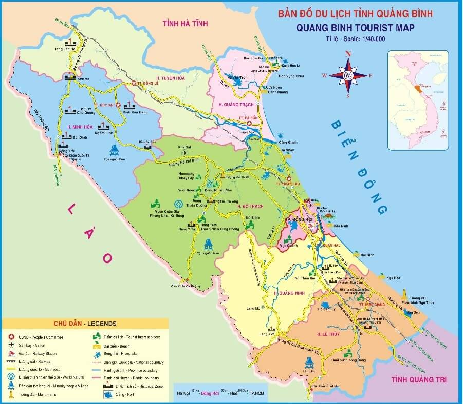 Bản đồ du lịch Quảng Bình 2019
