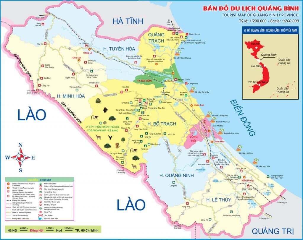 Bản đồ du lịch Quảng Bình 2020